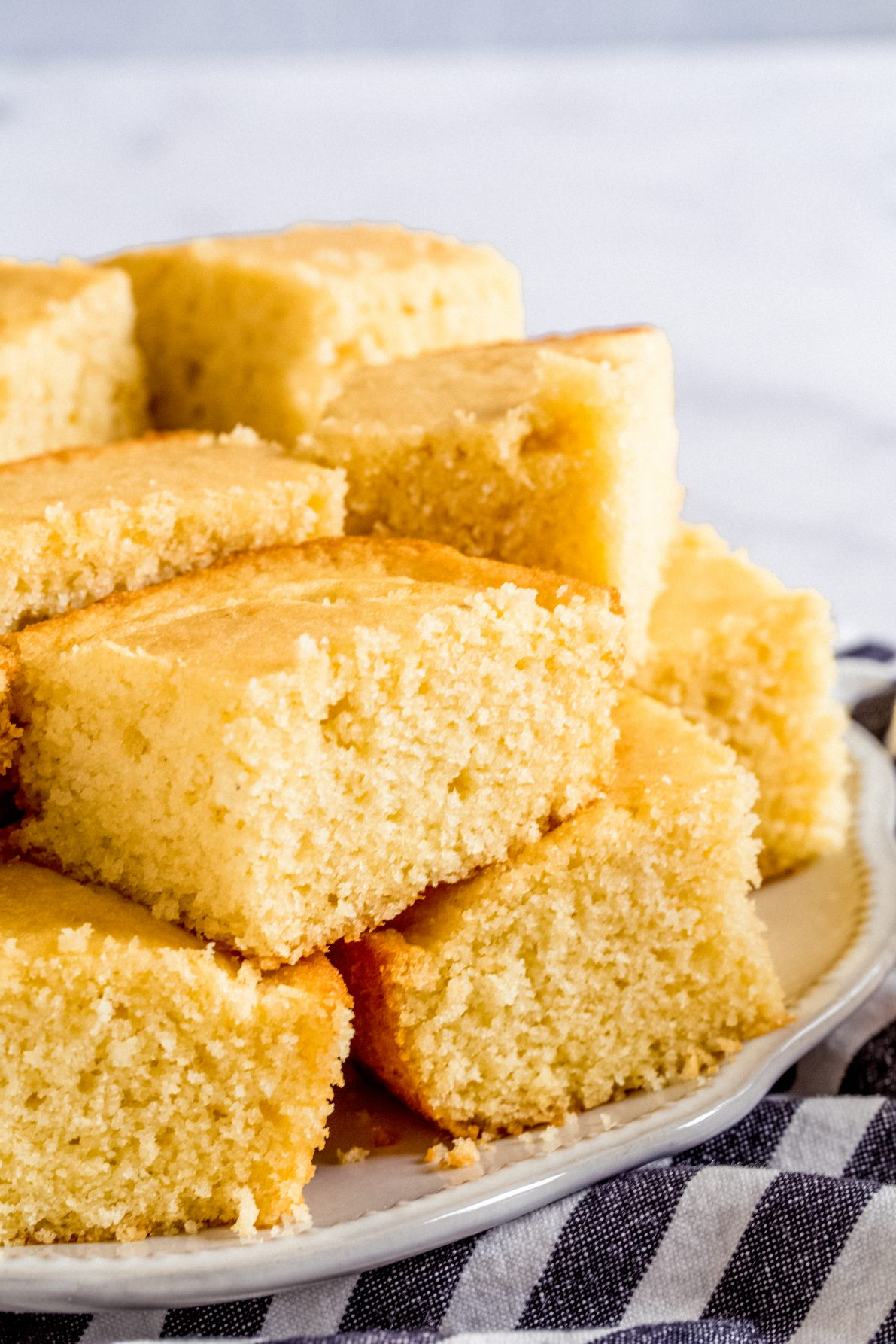 A stack of sweet buttermilk cornbread.