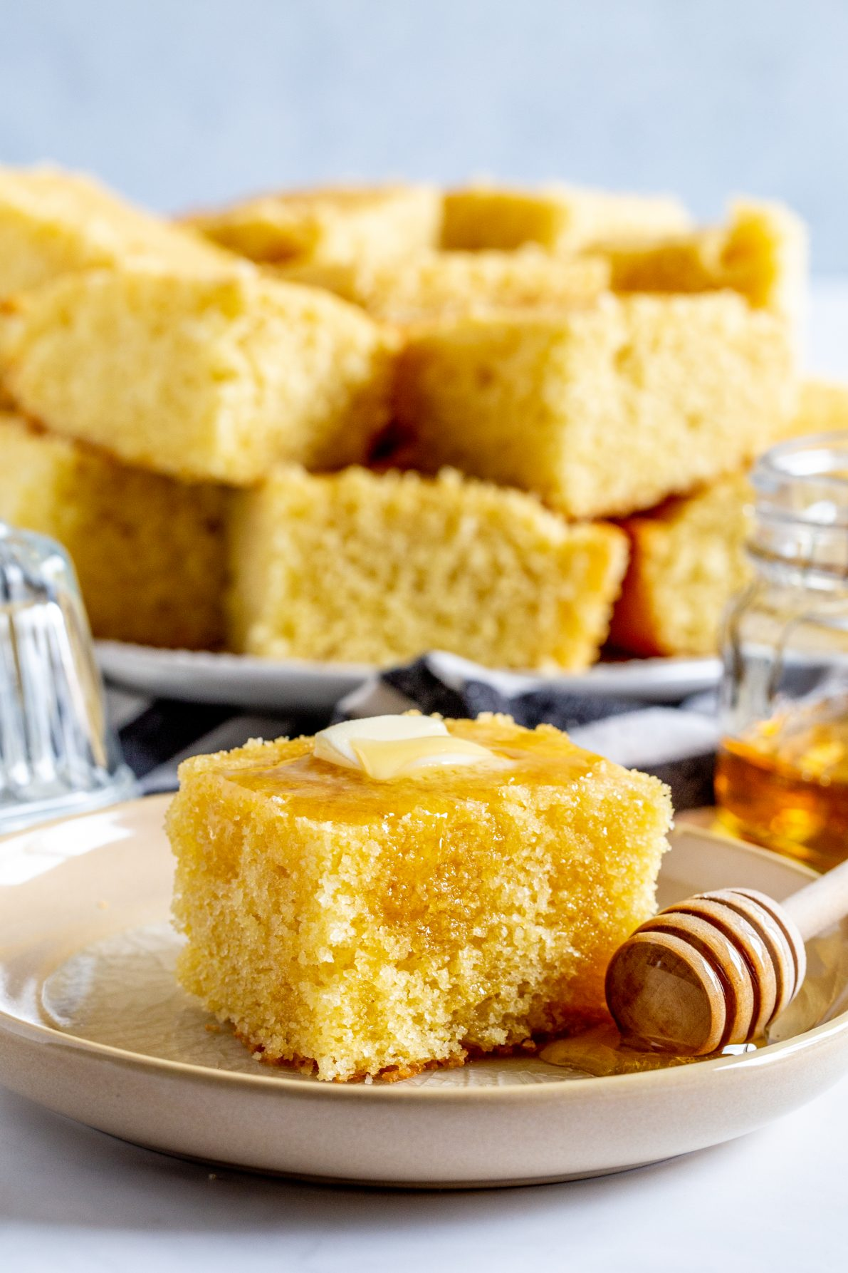 A piece of sweet buttermilk cornbread.
